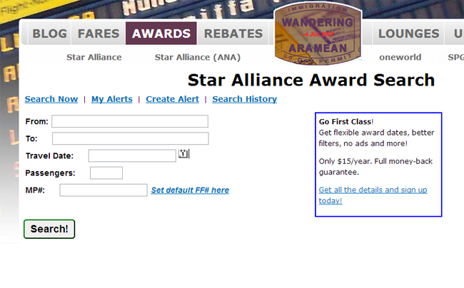 You can also set Star Alliance alerts, and search for award seats in other programs.