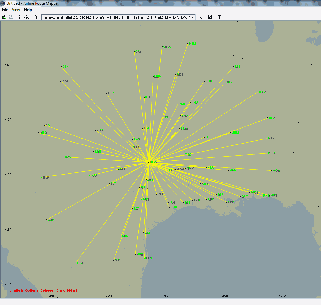 The valid cities for using Operation Twist from DFW with 4500 avios.