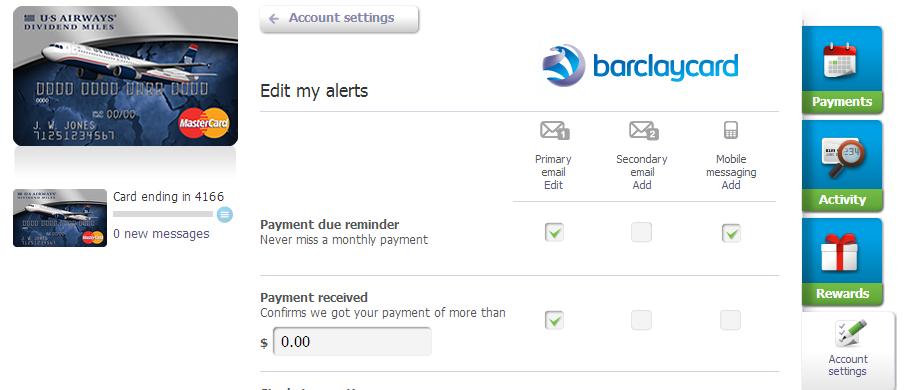 Barclaycard Alerts
