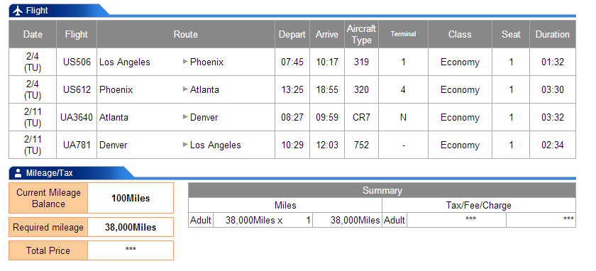 LAX-PHX-ATL-DEN-LAX is 4019 miles flown