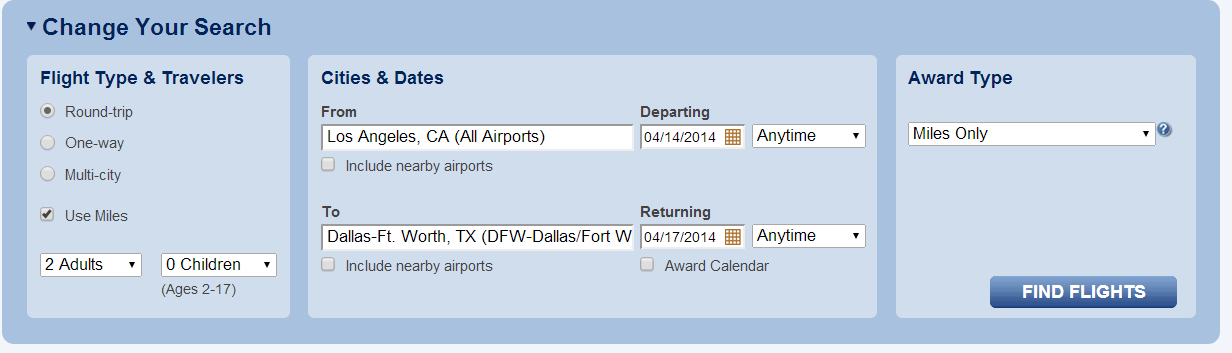 LAX-DFW Search terms