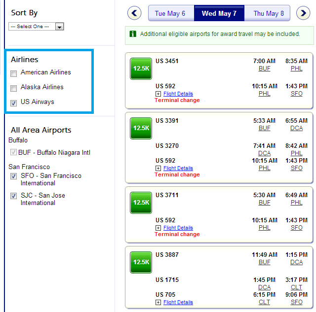 US Airways Only Search AA