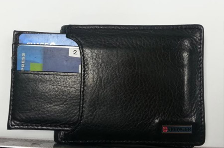 "Wallet shown with ""speed spending"" 4 card inner wallet extended."