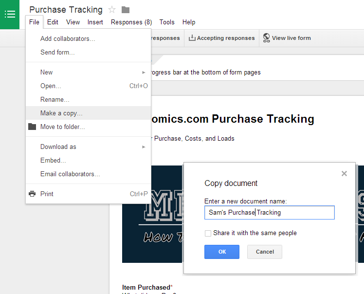 Make a Copy of Purchase Tracking