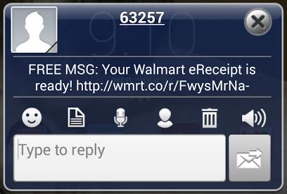 Walmart Text Message