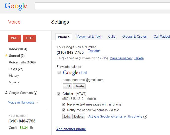 New Google Voice Setup