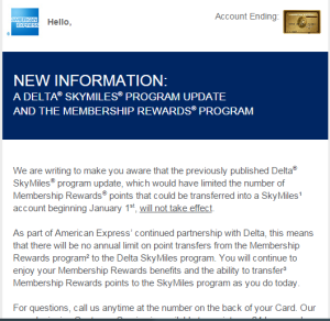 Amex No Longer Capping MR Transfers to Delta at 250k/yr.