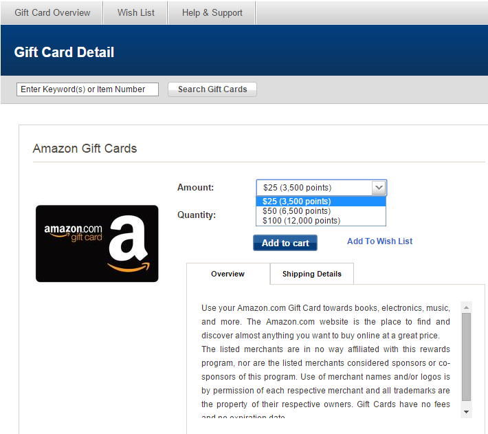 Gift card Detail