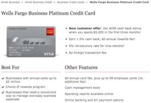 Wells Fargo Business Platinum $500 Offer [Existing checking account required]
