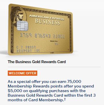Targeted american express business gold 75k5k offer milenomics colourmoves